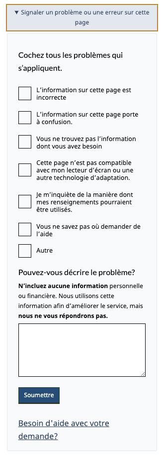Capture d'écran de la zone de commentaires dans l'outil « Trouver de l'aide financière pendant la COVID-19 »