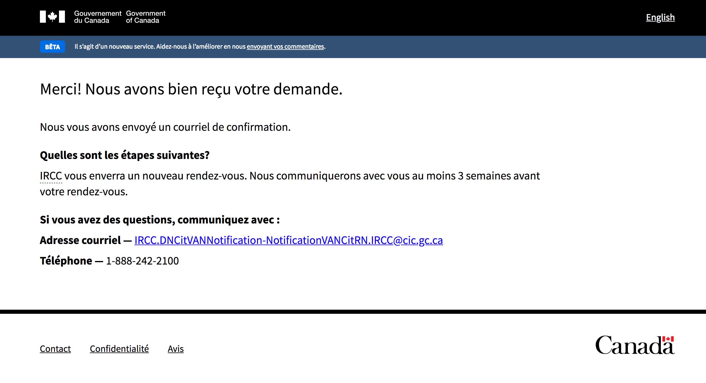 La page de confirmation indique que la demande a bien été reçue, les étapes suivantes et les coordonnées d'IRCC.
