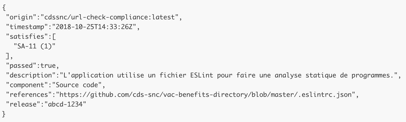 L'application utilise un fichier ESLint pour faire une analyse statique de programmes.