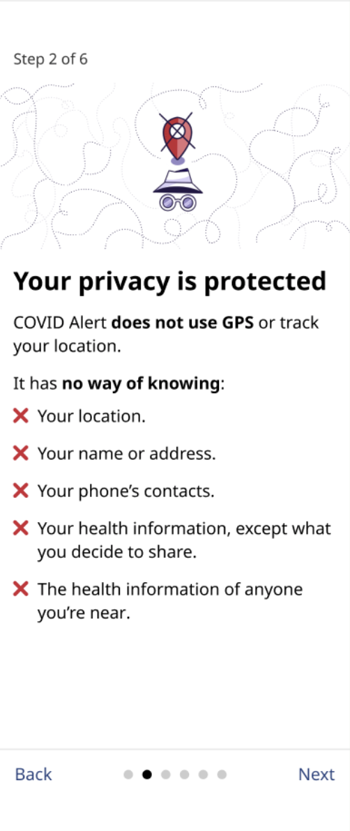 """A screenshot of the second onboarding screen from the COVID Alert app. It reads, """"COVID Alert does not use GPS or track your location. It has no way of knowing your location, your name or address, your phone's contacts, your health information, the health information of anyone you're near."""""""