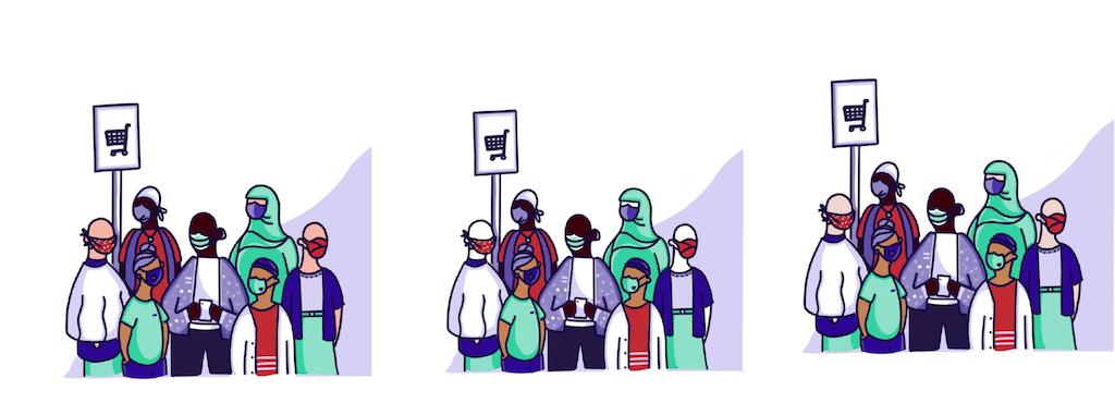 Trois illustrations côte à côte. La première montre un groupe de personnes portant un masque, les personnes à la peau pâle ayant une pigmentation. La deuxième illustration montre la même chose, mais les personnes à la peau pâle n'ont aucune pigmentation. La troisième illustration montre les personnes à la peau pâle avec une pigmentation teintée de jaune.