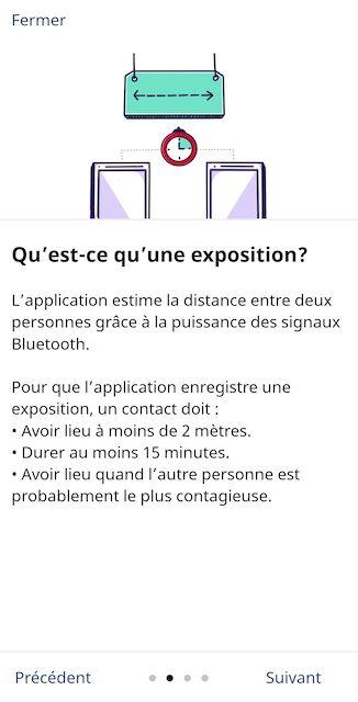Un écran de l'application Alerte COVID dont le titre est « Qu'est-ce qu'une exposition? », et l'illustration accompagnant le texte consistent en deux téléphones à deux mètres de distance, avec un cadran montrant 15 minutes.