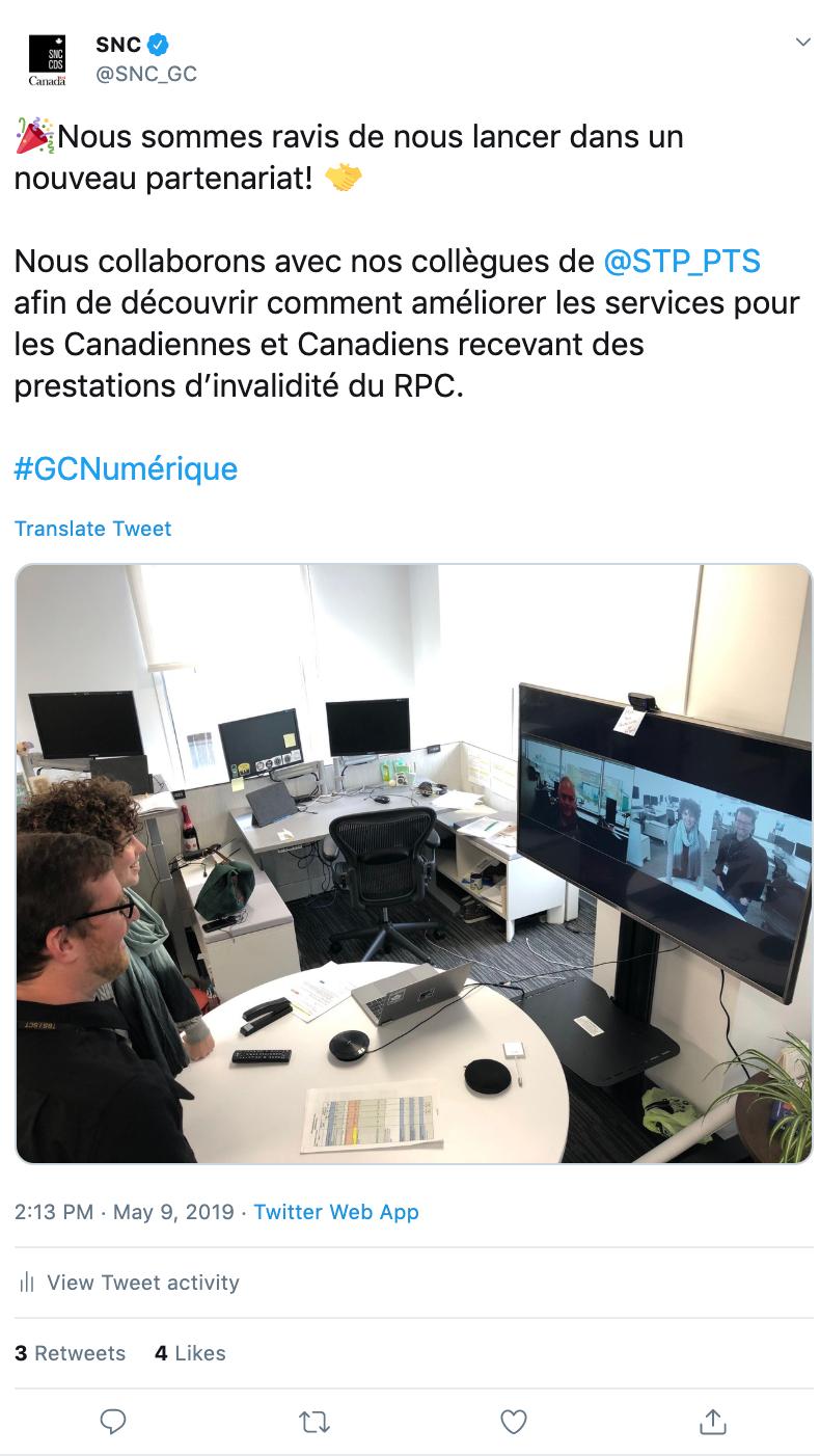 Une capture d'écran d'un gazouillis du Service numérique canadien qui se lit comme suit: «Nous sommes ravis de nous lancer dans un nouveau partenariat! Nous collaborons avec nos collègues de PTS afin de découvrir comment améliorer les services pour les Canadiennes et Canadiens recevant des prestations d'invalidité du RPC.»