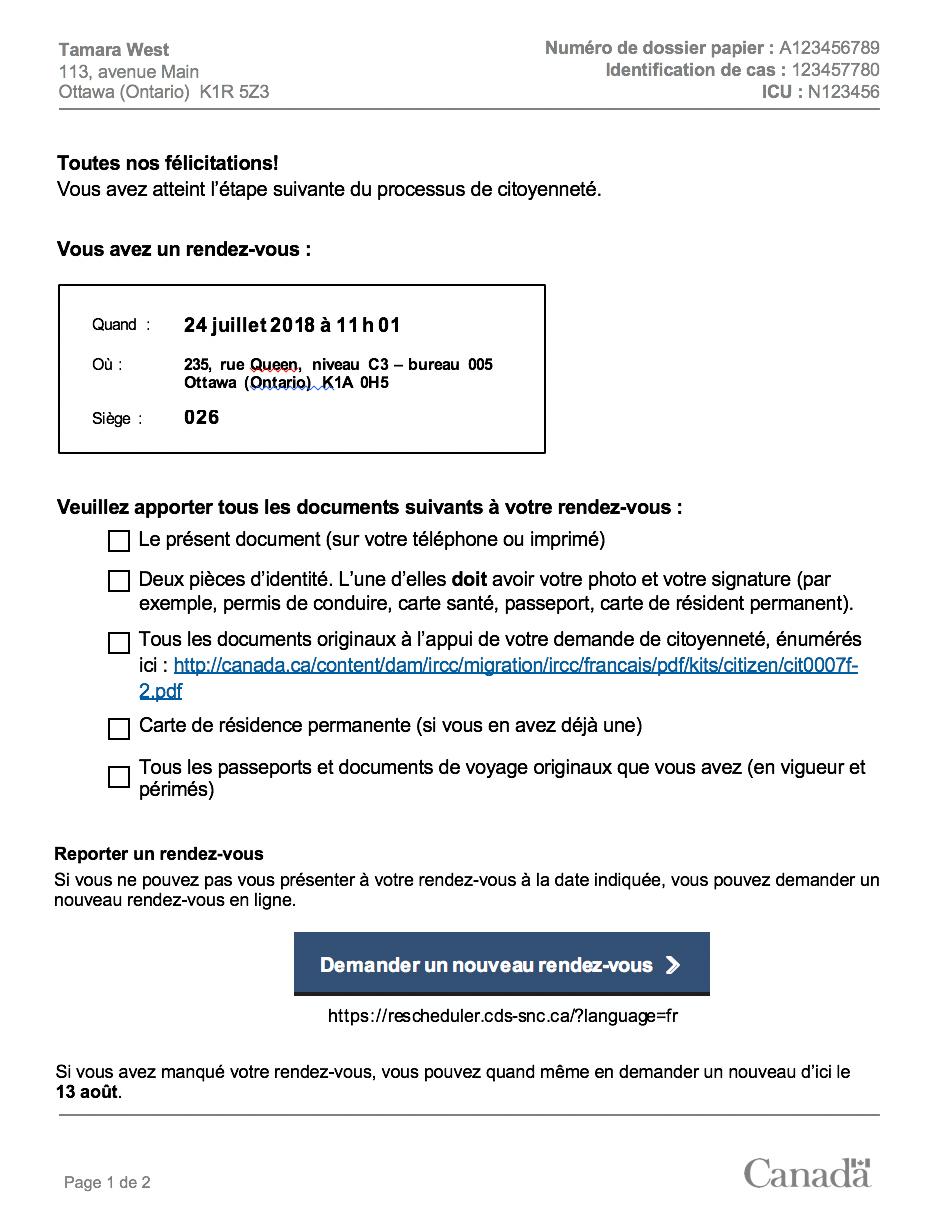 La nouvelle lettre qui a été conçue est moins dense et plus personnelle offrant des félécitations à la personne qui a atteint l'étape suivante du processus de citoyenneté. Cette lettre offre également une liste avec tous les documents à apporter au rendez-vous. Il y a également un large bouton pour demander un nouveau rendez-vous.