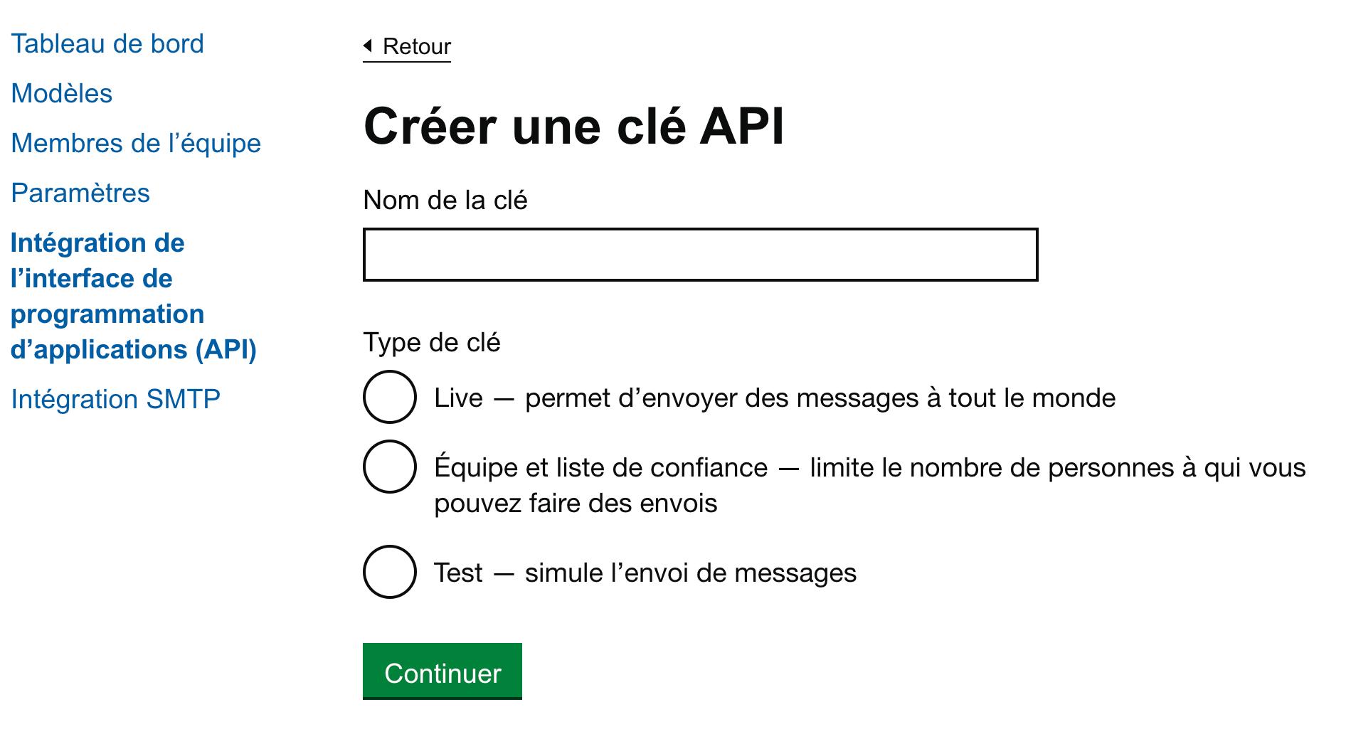 Une capture d'écran de la page d'intégration de l'API Notification, comprenant une section dans laquelle on demande à un utilisateur de créer une clé API en inscrivant le nom de la clé. Il peut choisir parmi trois types de clés : Live, Équipe et liste de confiance, et Test.
