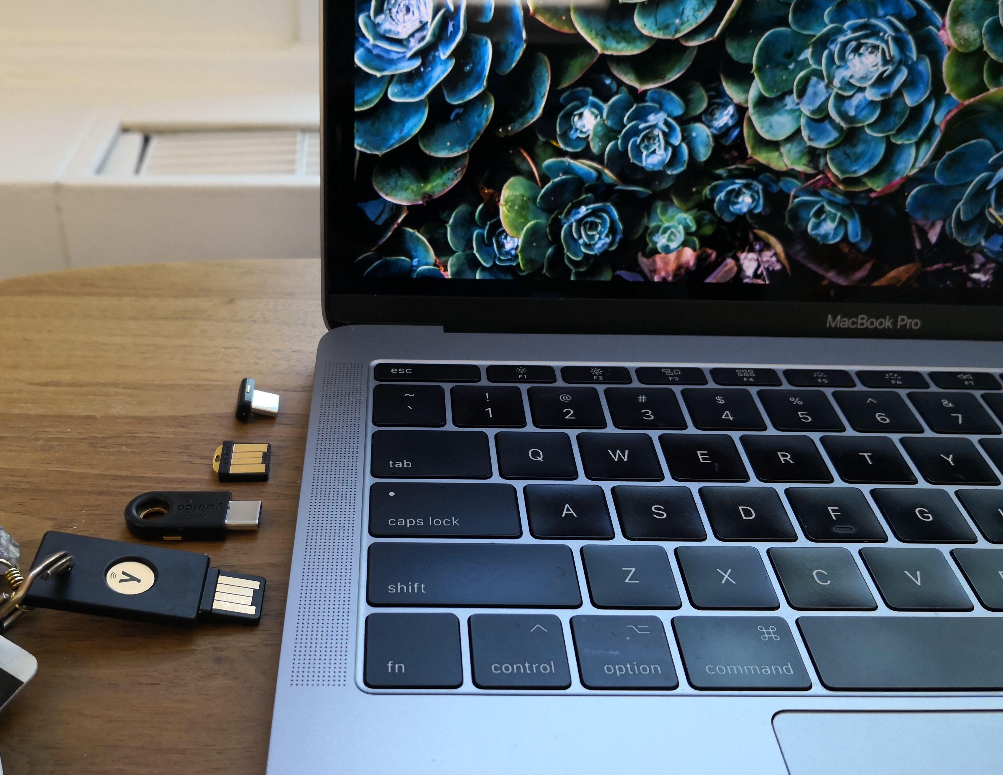 Quatre différentes clés de sécurité côte à côte, l'une d'entre elles étant attachée à un porte-clés.